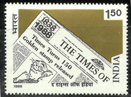INDIA 1988 STAMP TIMES OF INDIA , NEWSPAPER, CARTOONIST   . MNH - Neufs
