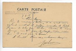 MARINE MILITAIRE Guerre 14 18 Griffe Bleue AMIRAL TREHOUART ( Cuirassé ) Sur Spa Toulon 8/1918    .....G - Autres