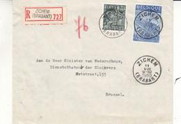 Belgique - Lettre Recom De 1950 - Oblit Zichem - Exp Vers Bruxelles - Textile - Broderies - Cartas