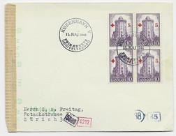 DANEMARK 10C CROIX ROUGE BLOC DE 4 LETTRE COVER KOBENHAVN 11 MAJ 1944 TO SUISSE CENSURE NAZI - Briefe U. Dokumente