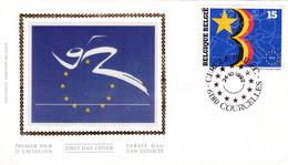B01-363 2485 Enveloppe FDC Soie Europe Marché 24-10-1992 6180 Courcelles - 1991-00
