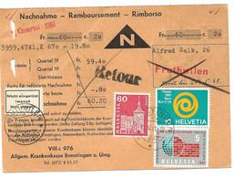 """20 - 13 - Carte """"remboursement"""" Envoyée De Ermatingen 1960 - étiquette """"Impayé"""" Et Retour - Covers & Documents"""