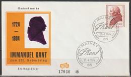 BRD FDC 1974 Nr.806 250.Geb. Immanuel Kant (d 4278 ) Günstige Versandkosten - FDC: Enveloppes