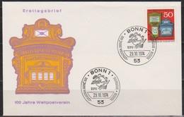 BRD FDC 1974 Nr.825 100 Jahre Weltpostverein ( D 4322 )Günstige Versandkosten - FDC: Enveloppes