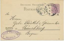 """DEUTSCHES REICH """"BIELEFELD"""" K1  A. 5 Pfennig Violett Kab.-GA-Postkarte-FRAGETEIL ABART - Variétés"""