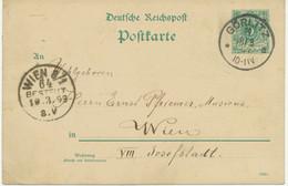 """DEUTSCHES REICH """"GÖRLITZ"""" K1 5 Pf Reichspost GA-Postkarte (Druckdatum 1292 C, ABART) - Variétés"""