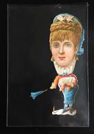 Clamecy Chromo Plainville Decoupis Caricature Grosse Tête Grotesque Femme Ombrelle - Animaux