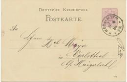 """DEUTSCHES REICH """"HECHINGEN / 1"""" K1  A. 5 Pfennig Violett Kab.-GA-Postkarte ABART @LOOK@ - Variétés"""