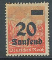 DEUTSCHES REICH 1923, 20 T Auf 12 M Orangerot Ungebr. Pra.-Stück ABART: FEHLENDE FARBE - Variétés