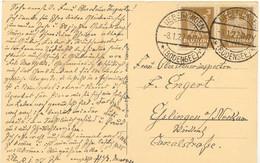 DEUTSCHES REICH 1927 ÜBERLINGEN AK Mit 2 X 3 Pfg Reichsadler ABART: RANDAUSBRUCH - Variétés
