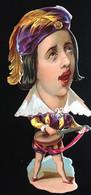 Clamecy BON MARCHE Mandoline Roméo Chromo Plainville Decoupis Caricature Grosse Tête Grotesque Amoureux Champs Chanteurs - Animaux