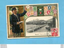 Le Facteur Suisse-GENEVE-illustrée -avec  Tous Les Timbres Suisses-a Voyagé En 1911 édit Guggenheim - Poste & Postini