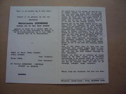 Doodsprentje/bidprentje   Maria-Leona  GOEMINNE   Huise °1893- † 1982 Deinze - Religion &  Esoterik