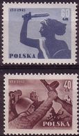 1955, Poland, Mi 897 - 898, WW II, The Ruins Of Warsaw. 10th Anniversary Of The Liberation Of Warsaw. MNH** - Unused Stamps