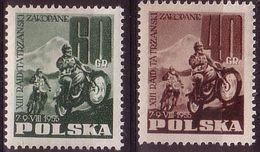 1955, Poland, Mi 928 - 929, Motocros, XII Tatra Rally Zakopane Mountains.  MNH** - Unused Stamps
