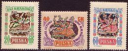 1955, Poland, Mi 917 - 919, Days Of Krakow. Lajkonk - Folklore. MNH** - Unused Stamps