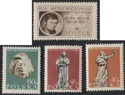 1955 Poland Mi 954-57 Mickiewicz Year, Artist, Poet, Dramatist, Essayist, Publicist, Translator, Professor MNH** - Unused Stamps