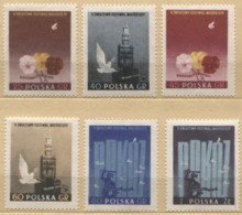 1955 Poland V World Youth Festival - Peace, Flowers, White Birds MNH** - Unused Stamps