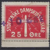 Denmark Local Railway Parcel. Sydfjenske Steamship 10/25 Oere.  Rare .Railways/Eisenbahnmarke/Revenues - Treni