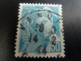 TYPE MERCURE - 50c. - Turquoise - Oblitéré - Année 1944 - - 1938-42 Mercure
