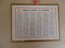 Almanach Des Postes Et Des Télégraphes De 1934 12,5/10 Cm. - Tamaño Pequeño : 1921-40