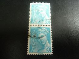 TYPE MERCURE - 50c. - Turquoise - Double Oblitérés - Année 1942 - - 1938-42 Mercure