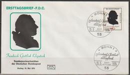BRD FDC 1974 Nr.809 250.Geb. Friedrich Gottlieb Klopstock  (d 193 )  Günstige Versandkosten - FDC: Enveloppes