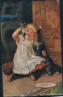 Chats Et Fillette  -cats And Child-  Meisje 2 Poezen -katzen, Mädchen - Gatti