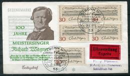 F0980 - BUND - FDC Mit 5mal Mi. 566 (Richard Wagner) Als Portogerechter Eilbrief Der 2.Portostufe - FDC: Enveloppes