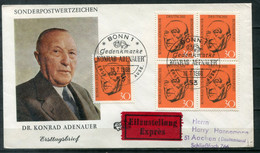 F0981 - BUND - FDC Mit 5mal Mi. 567 (Konrad Adenauer) Als Portogerechter Eilbrief Der 2.Portostufe - FDC: Enveloppes