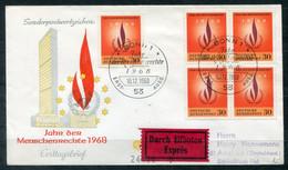 F0982 - BUND - FDC Mit 5mal Mi. 575 (Menschenrechte) Als Portogerechter Eilbrief Der 2.Portostufe - FDC: Enveloppes