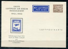 """F0985 - BERLIN - Privatganzsache Aus 1953 """"Erste Luftpost Am Rhein"""" - Postales Privados - Nuevos"""