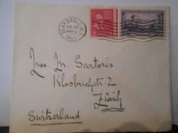 Etats Unis , Lettre De Scarsdale Ny 1951 Pour Zurich , Non Dentele Sur Un Cote - Briefe U. Dokumente