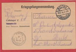 Carte En FM Du Camp De Soltau Vers Frambouhans (Doubs) 1916 Kriegsgefangenensendung - WW I