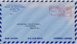 Canada Bank Air Mail Cover Sent To Denmark With Meter Cancel Montreal 27-4-1965 There Is A Tear In The Right Upper Corne - Aéreo