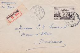 Enveloppe Recommandé Par Avion Mogador à Bordeaux - Morocco (1956-...)
