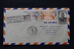 GUADELOUPE - Enveloppe 1er Vol Guadeloupe / Martinique  En 1947 - L 90673 - Lettres & Documents