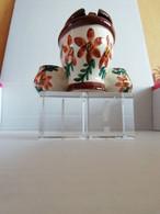ORIGINAL Moutardier Avec Saliere Et Poivrier EN FORME WC ,ceramique Bretonne Decor Fait Main - Other