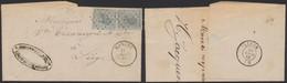 """émission 1865 - N°17 X2 Sur LAC Obl Pt 237 """"Marche"""" (Banque Du Luxembourg) > Liège - 1865-1866 Profile Left"""