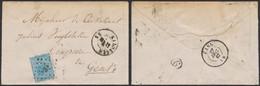 """émission 1865 - N°18 Sur Env. Obl Pt 232 """"Maldegem"""" > Gent - 1865-1866 Profil Gauche"""