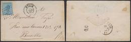 """émission 1865 - N°18 Sur Env. Obl Pt 242 çàd Melle (1867) + Manusc. """"Très Pressé"""" > Bruxelles - 1865-1866 Profil Gauche"""