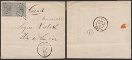 """émission 1865 - N°17 X2 Sur LAC à En-tête """"Cigares & épiceries, Fabrique De Chocolat"""" Obl Pt 243 çàd Menin (1866) > Gand - 1865-1866 Profile Left"""