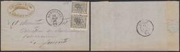 émission 1865 - N°17 En Paire Sur LAC Obl Pt 251 çàd Momignies (1868, Négociant) > Jumet - 1865-1866 Profil Gauche
