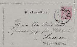 Carte Lettre Entier Postal Wien à Hemer - Enteros Postales