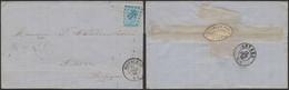 émission 1865 - N°18 Sur LSC Obl Pt 257 çàd Mouscron (1868) > Anvers / Verso étiquette PUB (Lens) - 1865-1866 Profil Gauche