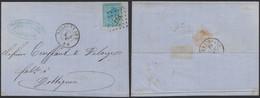 émission 1865 - N°18 Sur LAC Obl Pt 268 çàd Nessonvaux (1867, Manusc. Goffontaine) > Dottignies - 1865-1866 Profil Gauche