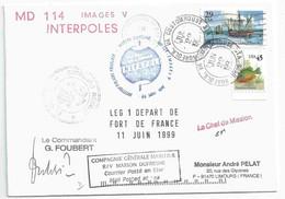 YT 2207 - Colomb à Porto Rico - YT 2128 Perche Arc En Ciel - Posté à Bord Du MD - Escale à Norfolk - 22/06/1999 - Cartas