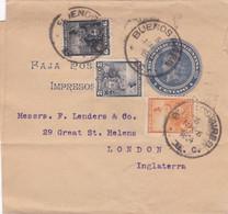Bande Pour Journaux Imprimés Entier Postal + Timbre Buenos Aires à London - Ohne Zuordnung