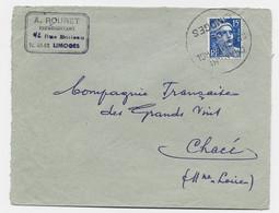 GANDON 15FR CHAMBRE DE COMMERCE DE LIMOGES LETTRE GREVE - 1945-54 Marianna Di Gandon