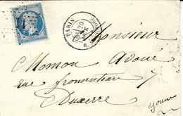 1865-lettre De PARIS / R . ST HONORE  Affr. N°60 Oblit. étoile 11 - 1849-1876: Classic Period
